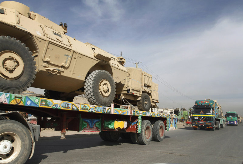 A convoy carries U.S. equipment in Kabul, Afghanistan. The U.S. military estimates that $360 million spent on combat support has ended up in the wrong hands.