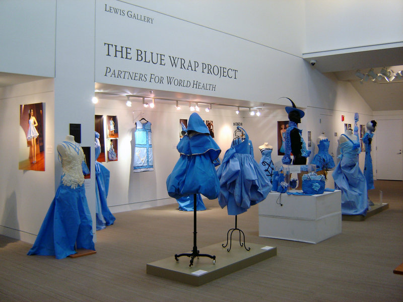 """The Blue Wrap Project"" installation at the Portland Public Library."