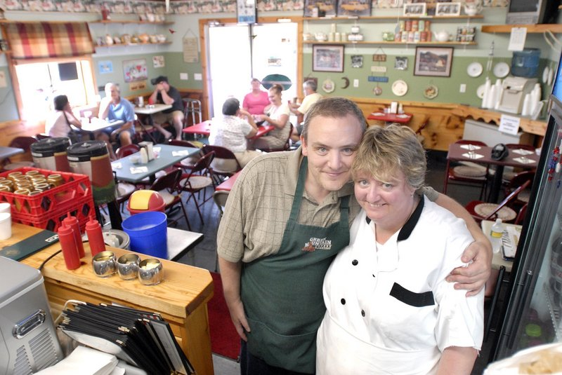 Dean and Laura Franks in their former restaurant, Laura's Kitchen, in Wells.