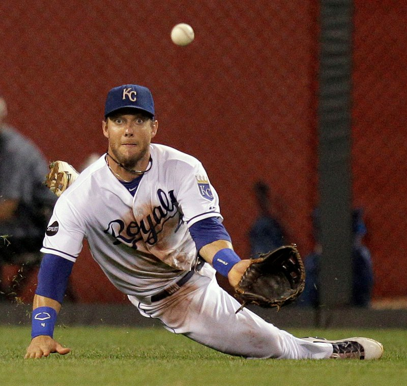 Royals left fielder Alex Gordon catches a liner by Carl Crawford during Boston's 7-1 victory Friday at Kansas City, Mo.