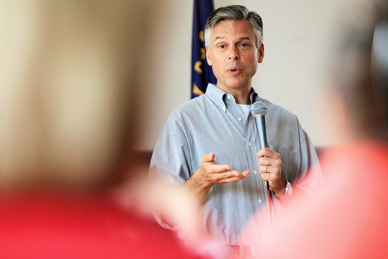 Former Utah Gov. Jon Huntsman, seeking the Republican presidential nomination, speaks at a breakfast Saturday at American Legion Post 3 in Nashua, N.H.