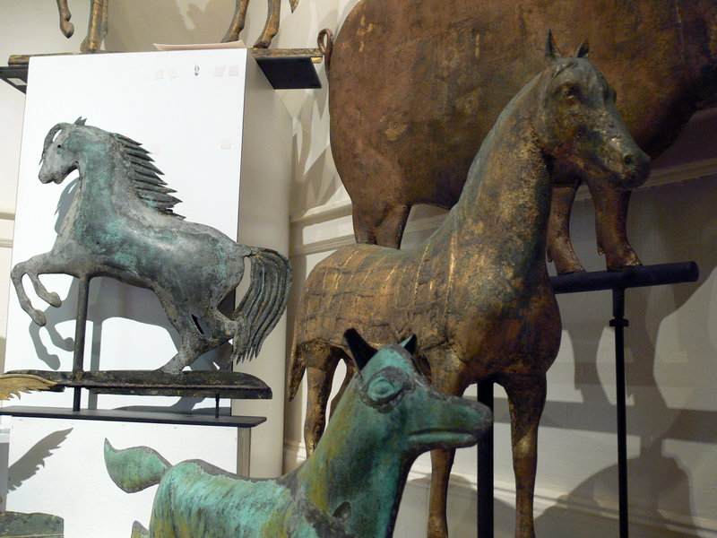 Weather vanes depicting foxes, horses, pigs and everything in between are on display at the Rufus Porter Museum in Bridgton until early October.