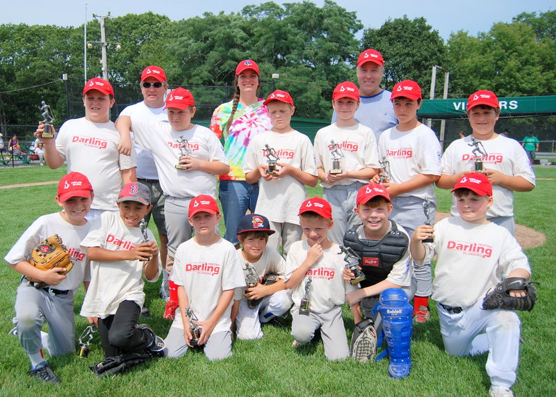 Darlings Plumbing & Heating recently won the championship in the Boys of Summer League of Greater Portland, which was made up of players ages 8-10 from Portland and Falmouth. Team members, from left to right: Front, Zevin Gray, Stillman Mahan, Brady Boyle, Sam Sabatine, Ben Curtis, Robby Sheils and James Hawkes. Middle, Nick Boyle, Danny Hill, Damian Cobb, Daniel Baker, Hayden O'Donnell and John Adamo. Back, Coach Jack Adamo, Coach Michelle Hawkes and Manager David O'Donnell. Absent from photo: Brian Riley, Liam Riley and Coach Dan Riley.