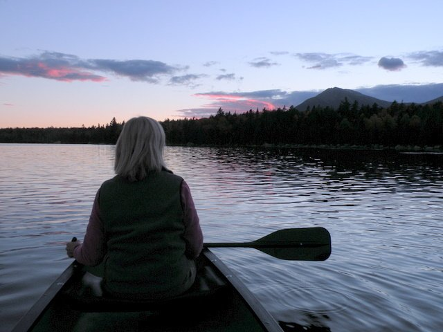 An evening paddle on Katahdin Lake.