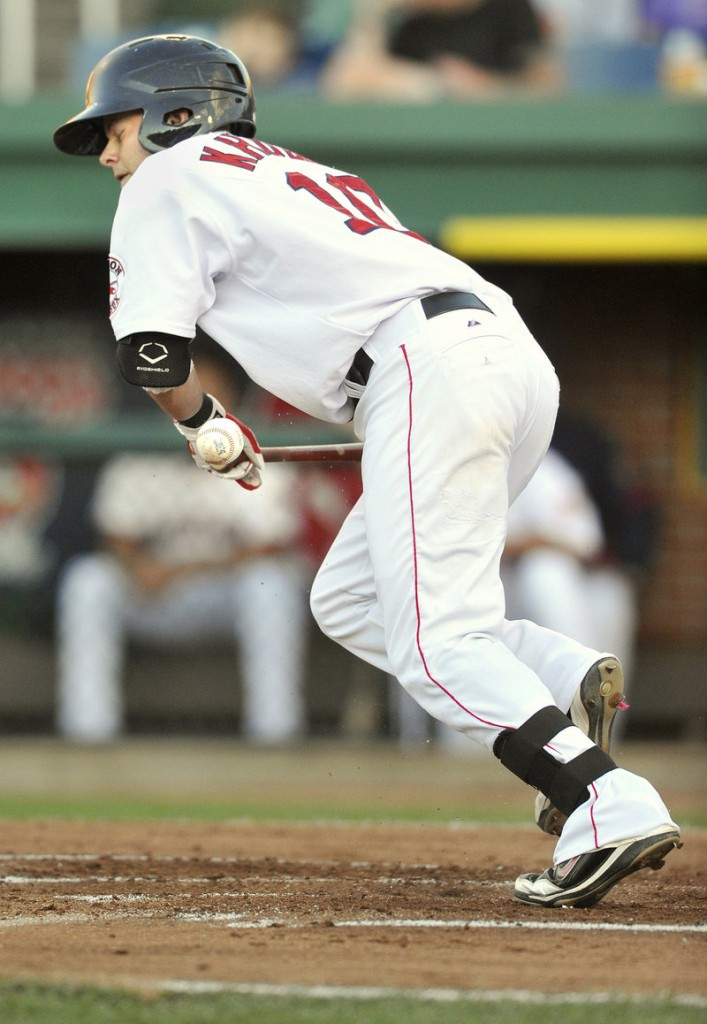 Ryan Khoury of the Sea Dogs, attempting to bunt his way on base for a team that's having trouble with offense, instead has the ball go foul in the third inning at Hadlock Field.
