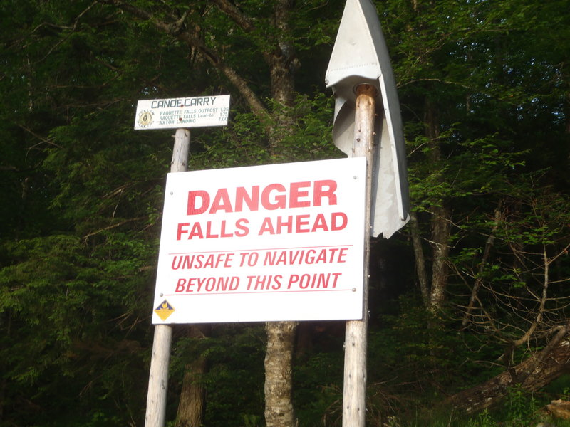 A sign warns of danger near Raquette Falls in New York.