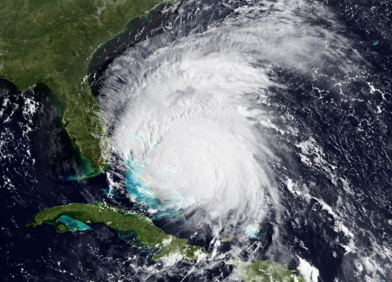 A satellite image shows Hurricane Irene approaching the Bahamas on Thursday as a Category 3 storm with maximum sustained winds of 115 mph. Forecasters say Irene had slowed but is expected to rev up again when it takes aim at the East Coast.