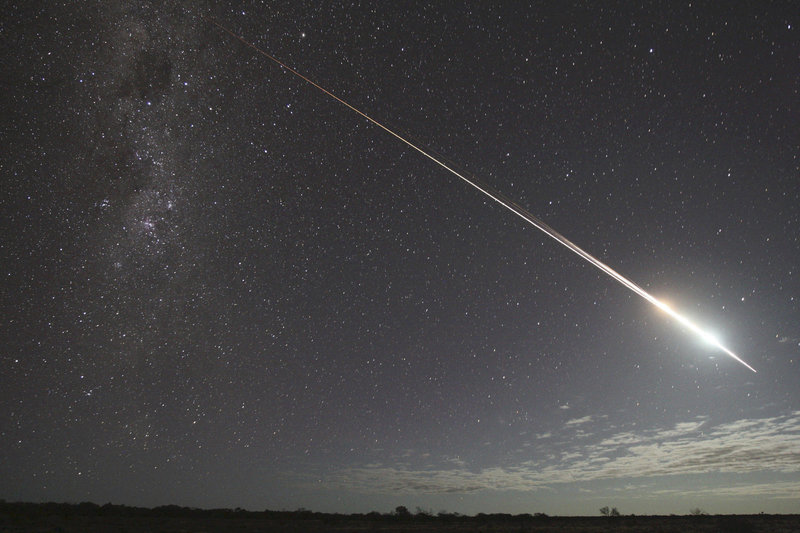 Asteroid explorer Hayabusa re-enters the atmosphere over Glendanbo, South Australia, on June 13, 2010, returning to Earth with its capsule containing the world's first collection of samples from an asteroid.