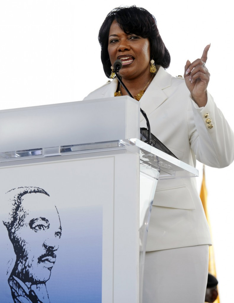The Rev. Bernice King, daughter of slain civil rights leader Martin Luther King Jr., gives a spontaneous address Friday at his memorial site.
