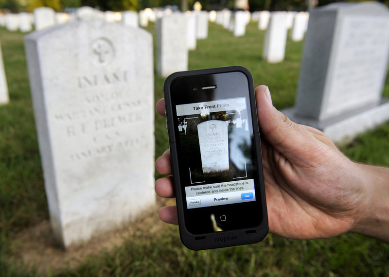 Soldiers with the Old Guard, the Army's official ceremonial unit, use iPhones as part of Task Force Christman, in which they photograph and catalog more than 219,000 grave markers and the front of more than 43,000 sets of cremated remains at Arlington National Cemetery.
