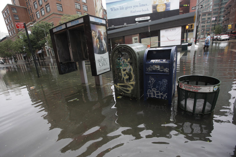 The Soho neighborhood of Manhattan is flooded on Sunday after seawater surged inland from Tropical Storm Irene.