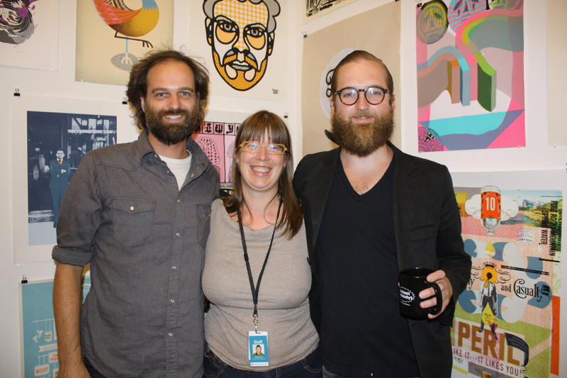 Nat May, executive director of Space Gallery, Sally Struever, who manages the Portland Musuem of Art Museum Store, and artist Mike Perry.
