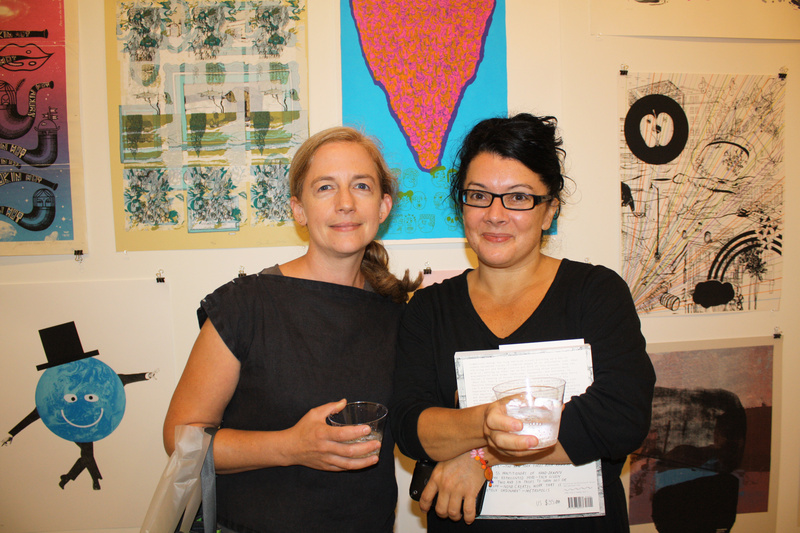 "Artist Karen Gelardi of South Portland, who is a member of both the Portland Museum of Art and Space, and graphic designer Jennifer Muller of Portland, who is a member of Space, at the opening reception for ""Pulled."""