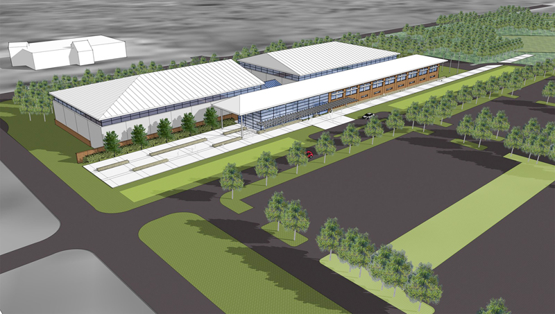 An artist's rendering of the new sports complex on the University of New England campus in Biddeford.