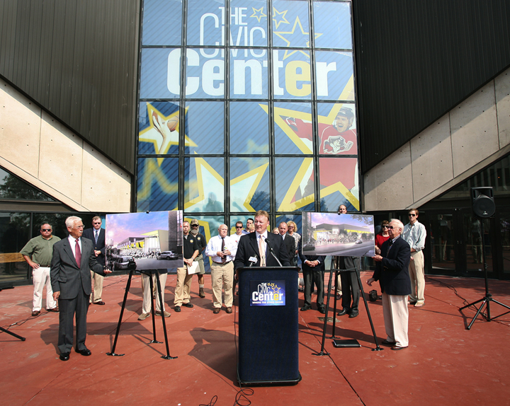 Neal Pratt, chair of the Cumberland County Civic Center Board of Trustees, addresses the media during the unveiling today of the proposed renovations for the Civic Center.