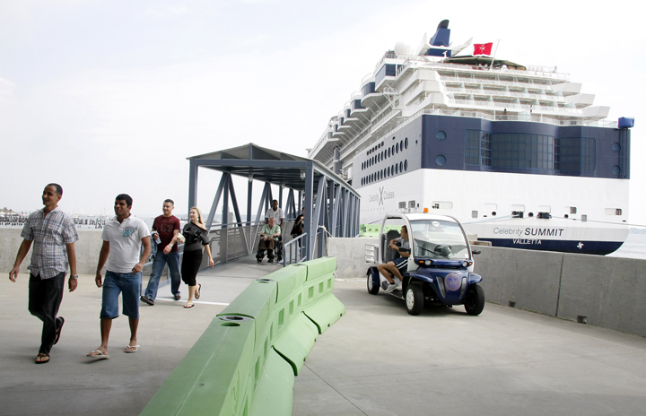 The Celebrity Summit, in port today, is the third cruise ship to berth at the new floating pier at Ocean Gateway Pier II in Portland.