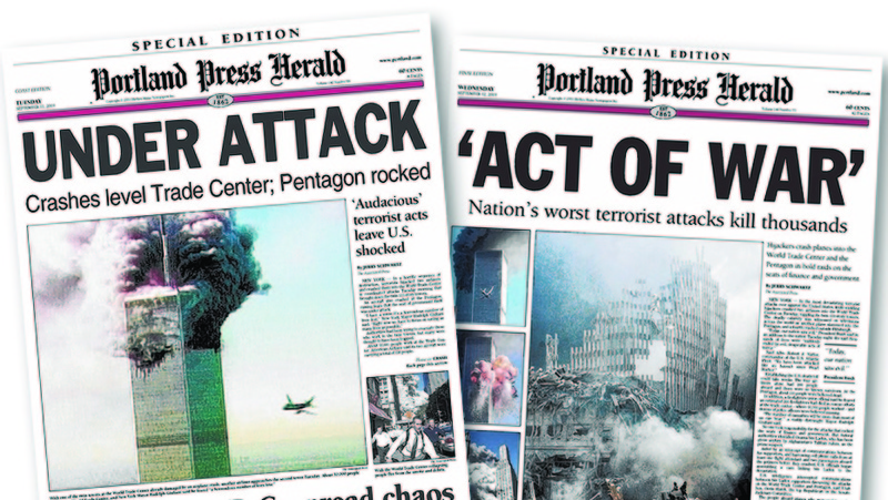 The Portland Press Herald produced an afternoon edition on Sept. 11, 2001, left, even as reporters and editors continued to work on the next day's edition, right.