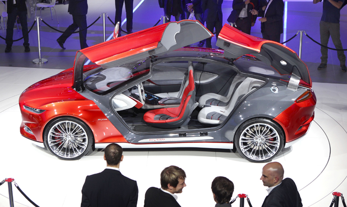 The Ford Evos concept car on display at the 64th Frankfurt Auto Show today.