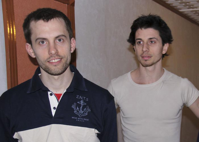 A May 21, 2010, photo of Shane Bauer, left, and Josh Fattal in Tehran, Iran.