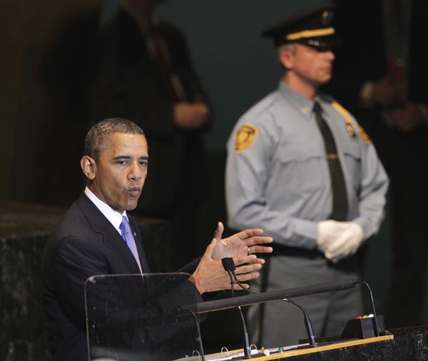 President Barack Obama speaks during the 66th session of the General Assembly at United Nations headquarters today.