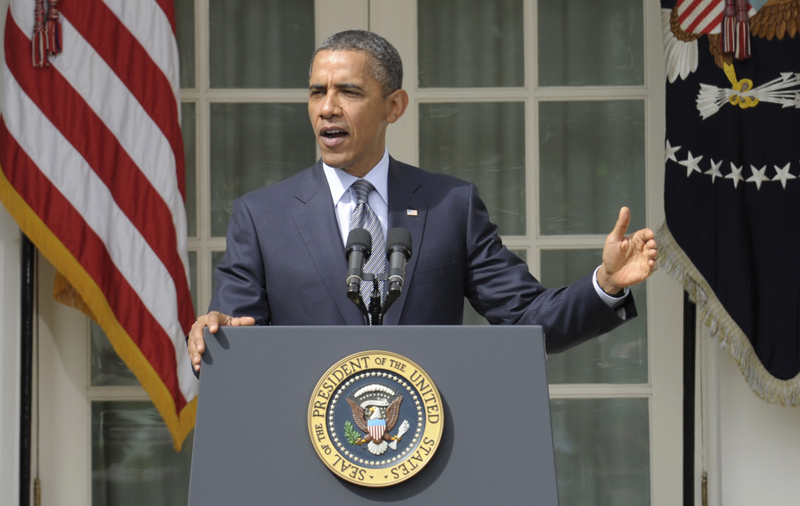 President Barack Obama outlines his deficit-reduction plan at the White House in Washington on Monday.