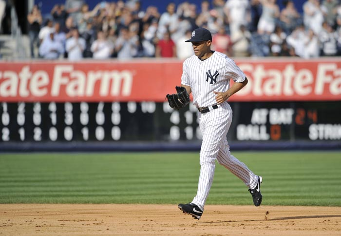 New York Yankees closer Mariano Rivera enters the baseball game in the ninth inning against the Minnesota Twins on Monday at Yankee Stadium. Rivera earned his 602nd career save in the Yankees' 6-4 win, passing Trevor Hoffman for first place on the career list.