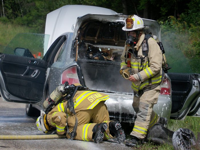 A car belonging to Michelle Baker of Woolwich caught fire at mile 21 northbound on I-295 shortly after 1 p.m. today. Freeport firefighters responded and put the flames out. It appears the fire started underneath the car near the rear axle.
