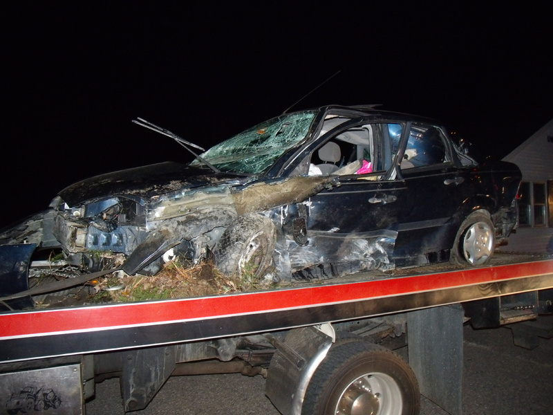 The Ford Focus totaled in this morning's accident in Lebanon.