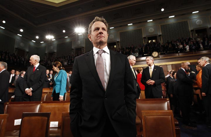Treasury Secretary Timothy Geithner waits for President Barack Obama to arrive to address a joint session of Congress on Sept. 8, 2011.