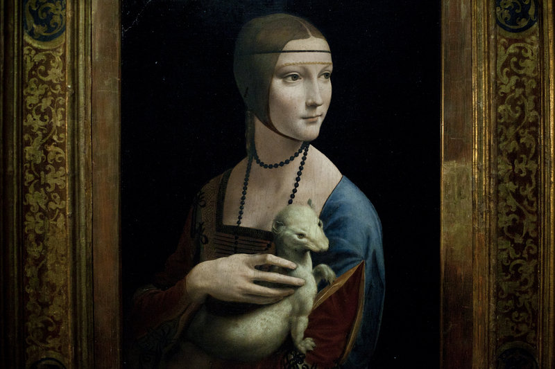 "Leonardo da Vinci's ""Lady with an Ermine"" is a major piece in the show."