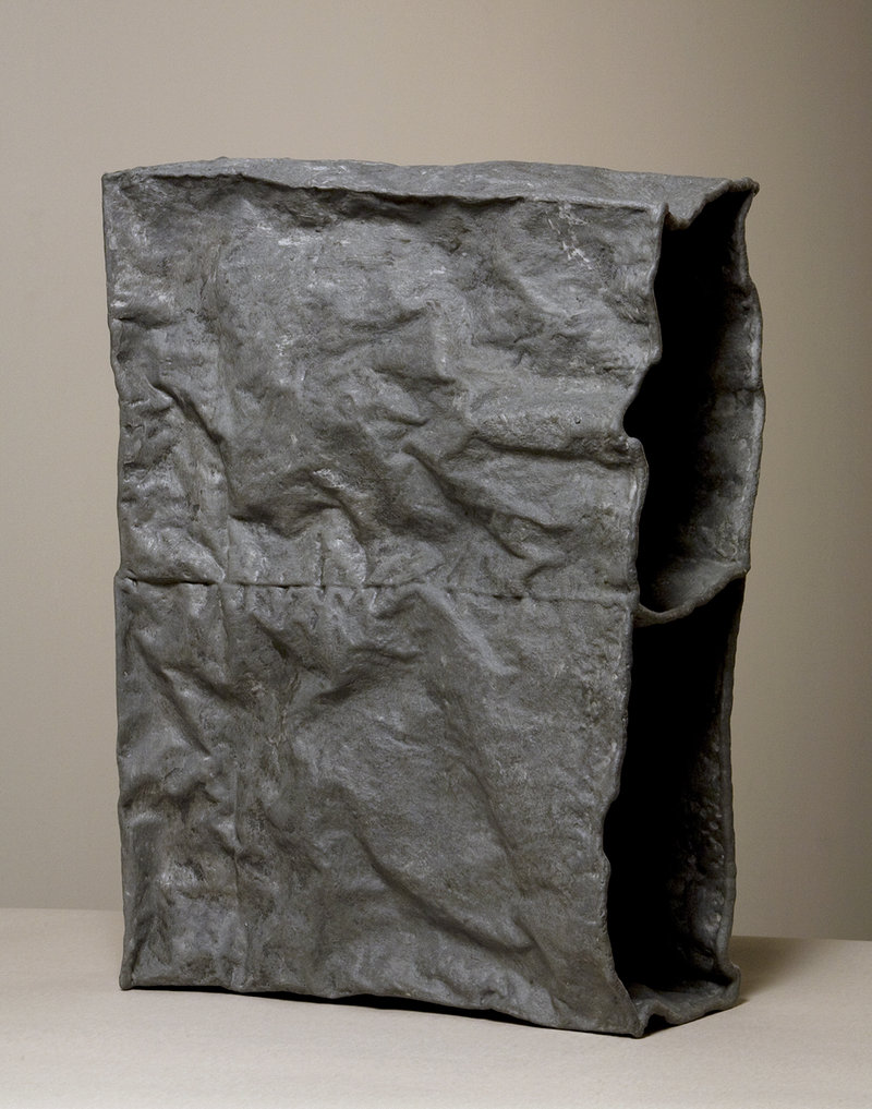 """James Marshall's """"Stack,"""" PVA, plaster and graphite on paper."""
