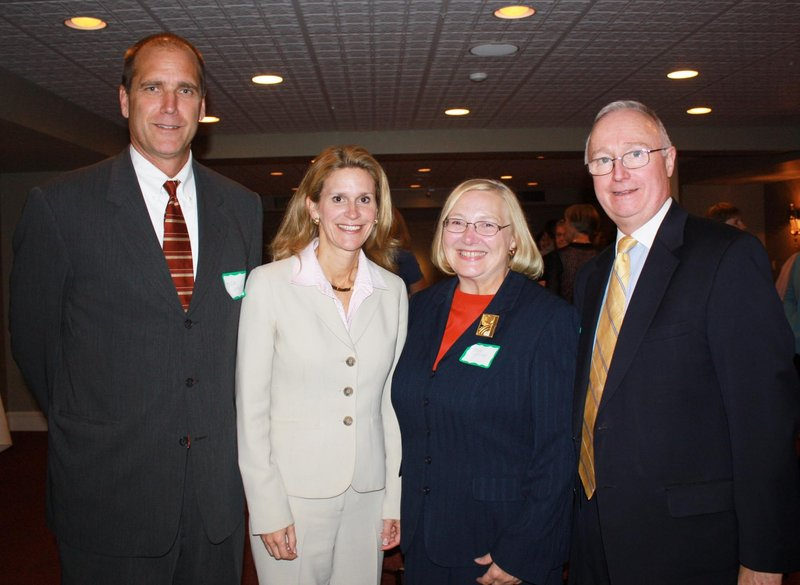 Rick Vogel, manager of the South Portland Prudential Financial office, Caroline Feeney, Eastern territorial vice president of Prudential Financial, Judy Crosby, the chair of the Portland chapter of the Maine Women's Network and director of Davinci Experience Science & Arts Camp, and Bill Cuff, managing director of Prudential Financial.