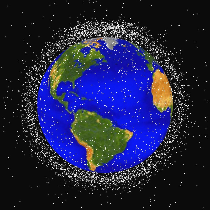 A computer-generated graphic provided by NASA shows the locations of objects in Earth orbit – much of it space junk – that are currently being tracked.