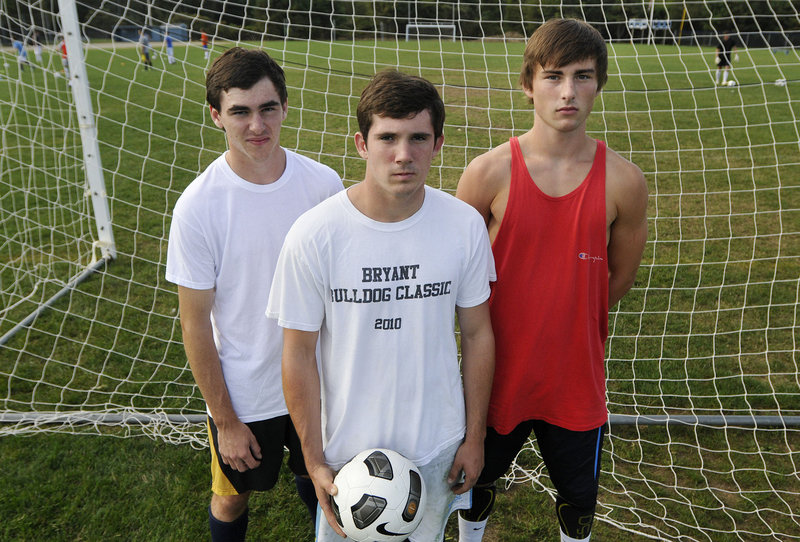 Striker Pierce Touhig, left, sweeper Kyle Robinson, center, and midfielder Liam Langaas lead the York Wildcats into a season of great expectations this fall.