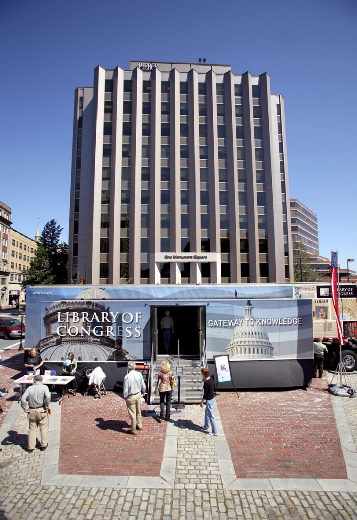A custom-built 18-wheeler houses the exhibit. Portland's Downtown District and the Portland Public Library hosted the local stop.