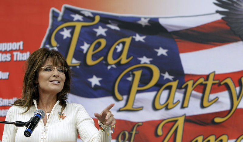 "Former Alaska Gov. Sarah Palin speaks at a tea party rally Saturday in Indianola, Iowa, where she was greeted with cries of ""Run, Sarah, run."""