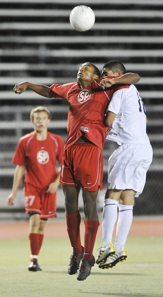 Akiba Davis, left, of South Portland was an all-SMAA defender last season and gives the Red Riots reason to believe their defense will be stout again this year.