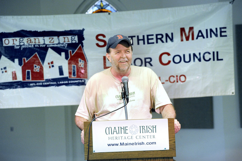 Vinney O'Malley of the International Longshoremen's Association Local 861 was a speaker at the Labor's Day Breakfast at the Maine Irish Heritage Center in Portland.