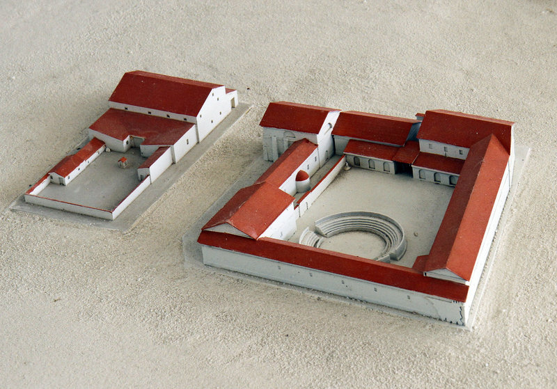"A model re-creates a Roman gladiator school – described as a ""mixture of a barracks and a prison"" – found buried in Carnuntum, Austria."
