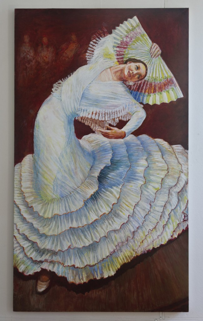 """""""Flamenco,"""" oil by Candasa Edwards-Epstein, from her show at Maine Art Gallery in Wiscasset."""