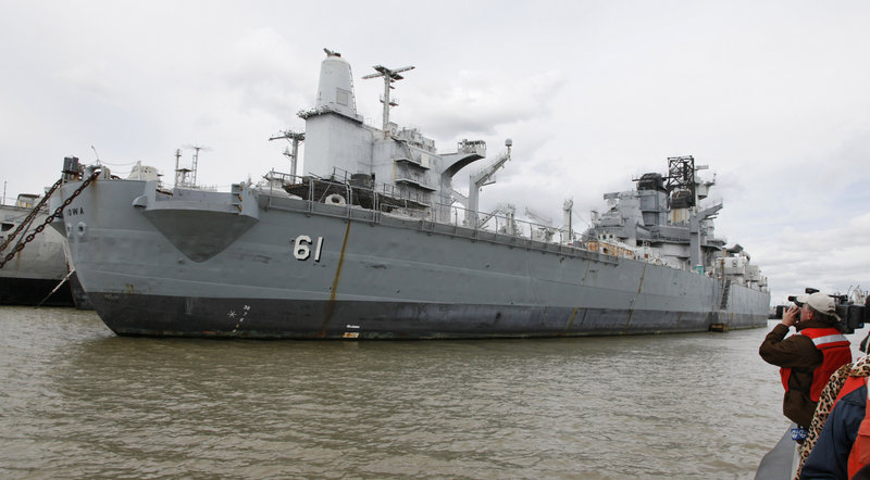 "USS Iowa is anchored with the ""ghost fleet"" at the Suisun Bay Reserve Fleet in Benicia, Calif. It will be rehabilitated before being towed to Los Angeles, probably in October."