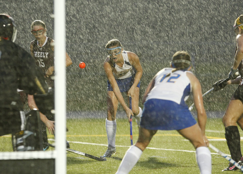 Somehow the rain is forgotten after a victory, and Falmouth got to do the forgetting Wednesday night after beating Greely 4-3 in field hockey.