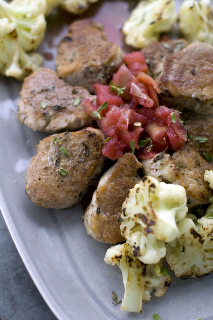 Rocco DiSpirito uses Gala apples in the chunky applesauce that accompanies medallions of pork tenderloin and roasted cauliflower.