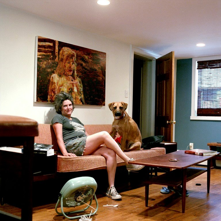 """From """"Are You Really My Friend: The Facebook Portrait Project"""" by Tanja Alexia Hollander: Angela Dufresne with Larry the dog, Brooklyn, N.Y. ..."""
