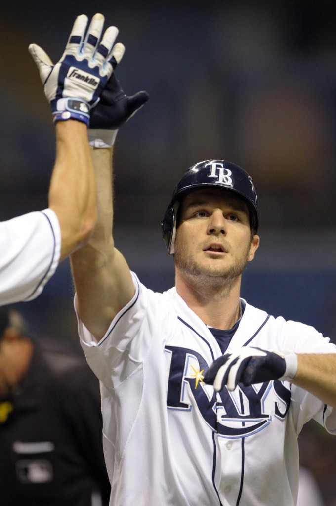Tampa Bay's John Jaso gets a high-five after his two-run homer off Boston's John Lackey in the second inning.