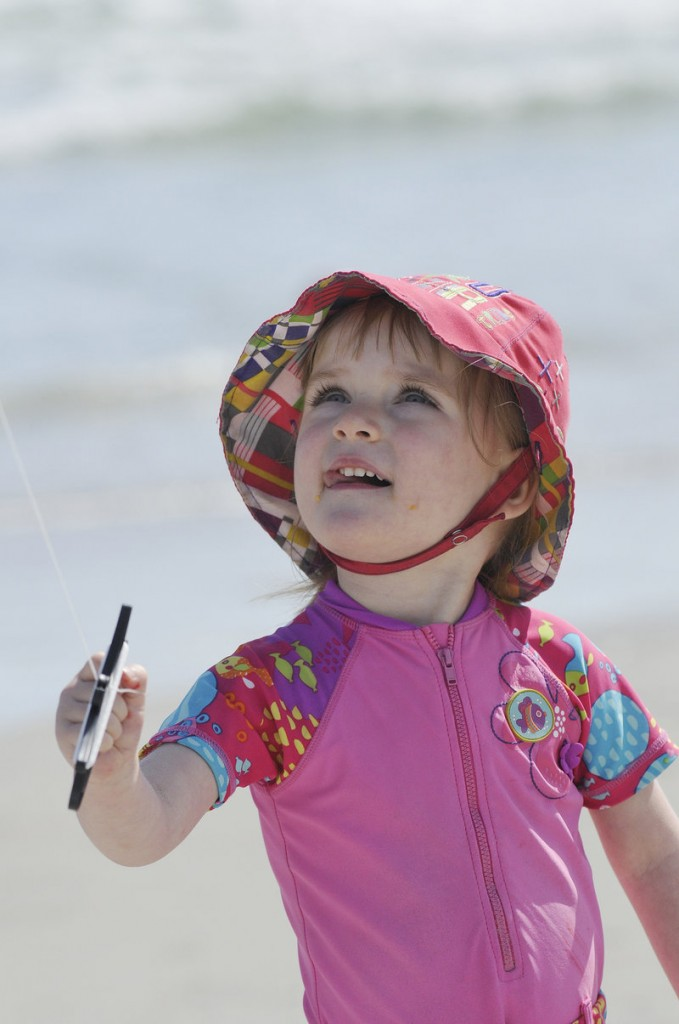 Eleonore Pepin, 2, of Quebec keeps a close eye on her kite.