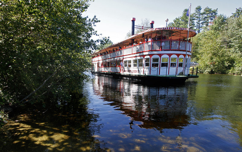 The Songo River Queen II makes its way along the Songo River, its route for 40 years, on Saturday.