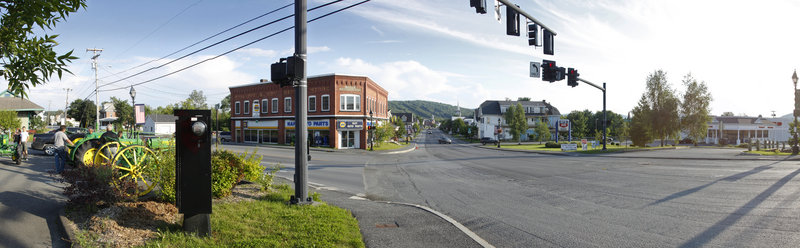 Main Street intersects with Market Street in picturesque Fort Kent near the Canadian border.