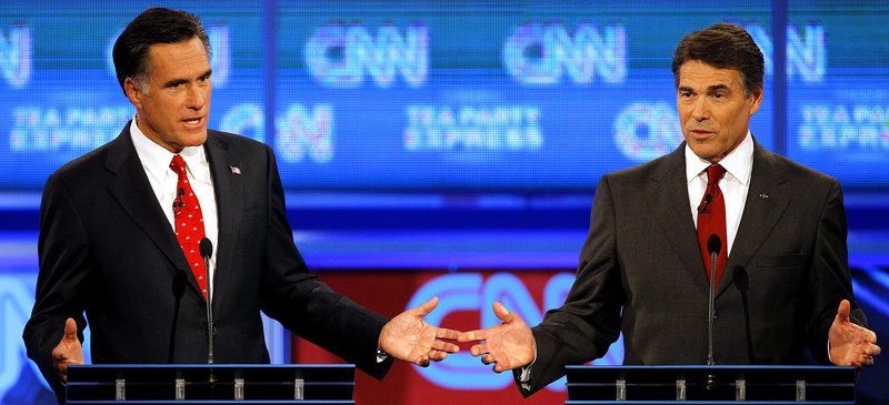 Mitt Romney, left, was considered the front runner until Rick Perry, right, came on the scene.