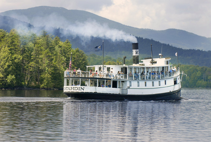 The Katahdin leaves Greenville for a cruise on Moosehead Lake that teaches passengers about the area's history as well as showing them majestic scenery.